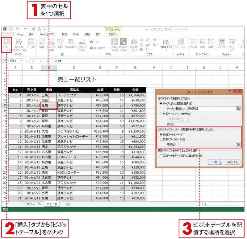 基になるテーブル/表の設定