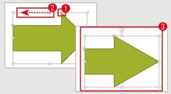 黄色ハンドルのドラッグで形状を変更できる
